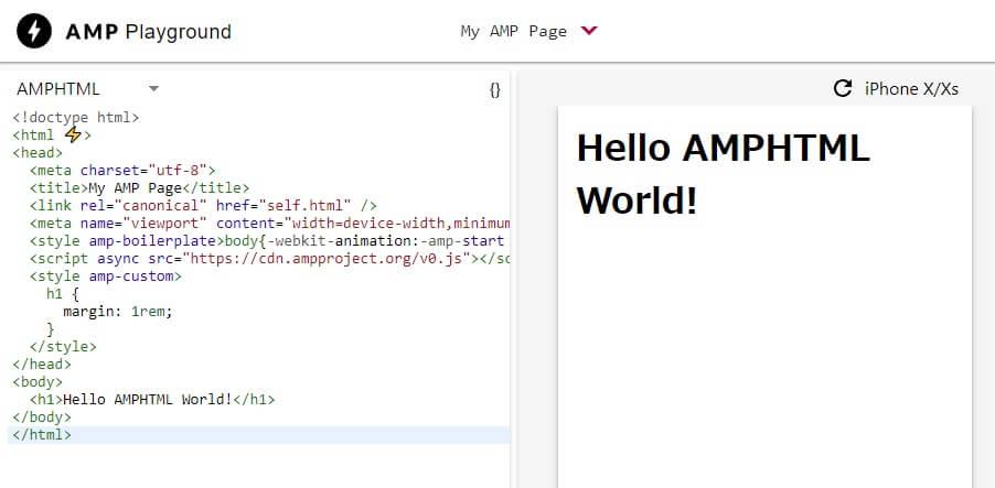 AMP Playground実行画面
