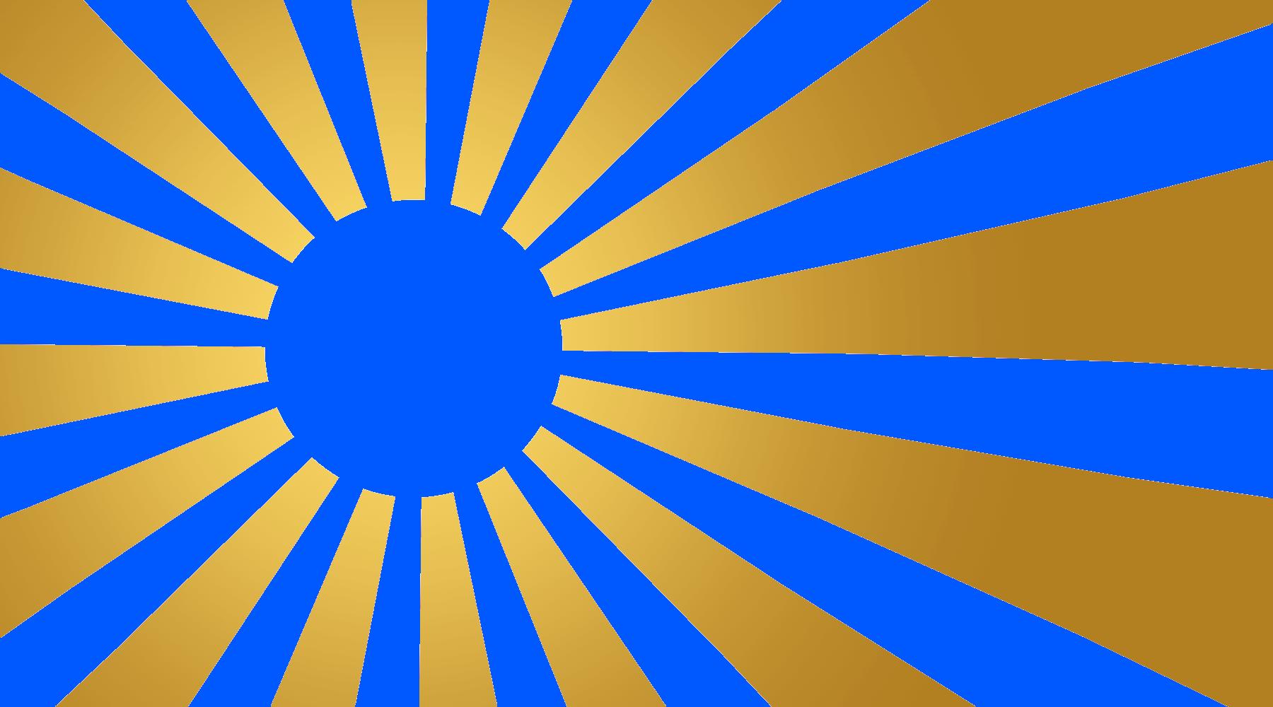青色・金背景の旭日旗