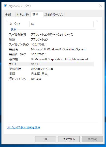 alg.exeプロパティ詳細