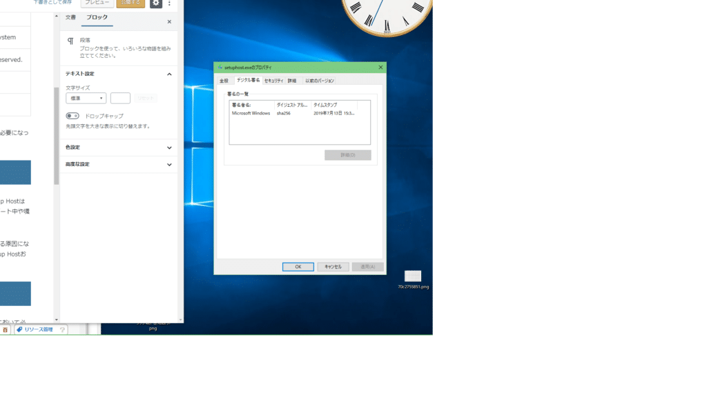setuphost-exeプロパティ-デジタル署名